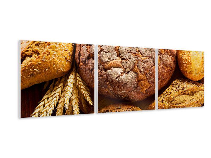 Panorama Hartschaumbild 3-teilig Brotsortiment