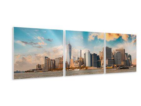 Panorama Hartschaumbild 3-teilig Skyline New York from the other Side