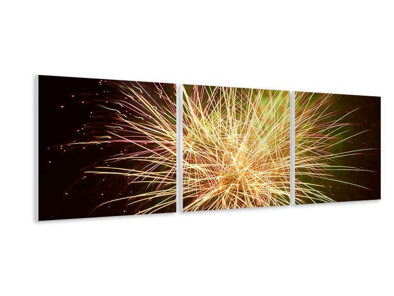 Panorama Hartschaumbild 3-teilig Feuerwerk XXL