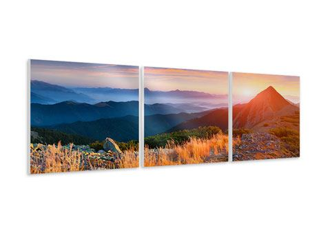Panorama Hartschaumbild 3-teilig Sonnenuntergang in den Alpen