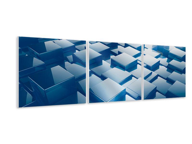 Panorama Hartschaumbild 3-teilig 3D-Cubes
