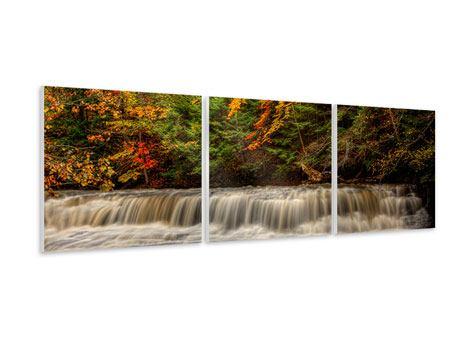 Panorama Hartschaumbild 3-teilig Herbst beim Wasserfall