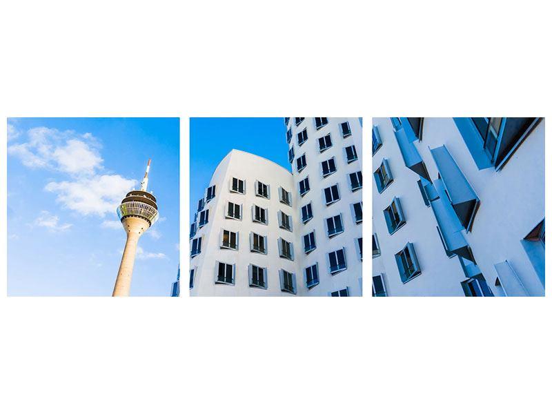 Panorama Hartschaumbild 3-teilig Neuer Zollhof Düsseldorf