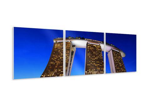 Panorama Hartschaumbild 3-teilig Wolkenkratzer Singapur