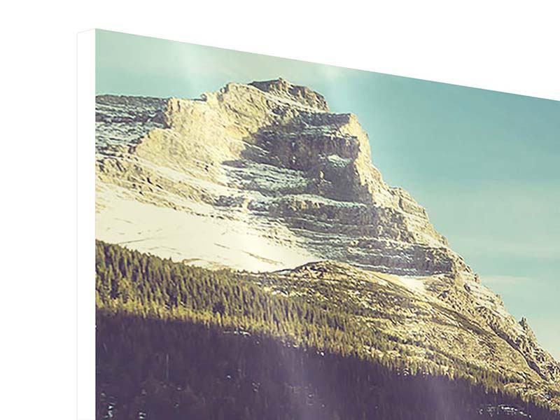 Panorama Hartschaumbild 3-teilig Spiegelung im Bergsee