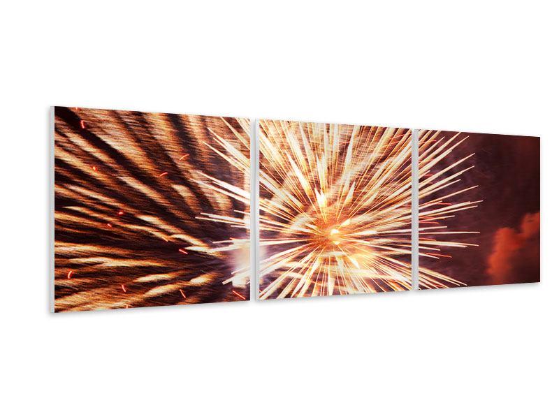 Panorama Hartschaumbild 3-teilig Close Up Feuerwerk