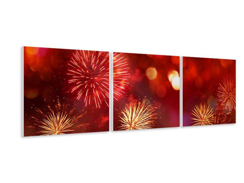 Panorama Hartschaumbild 3-teilig Buntes Feuerwerk