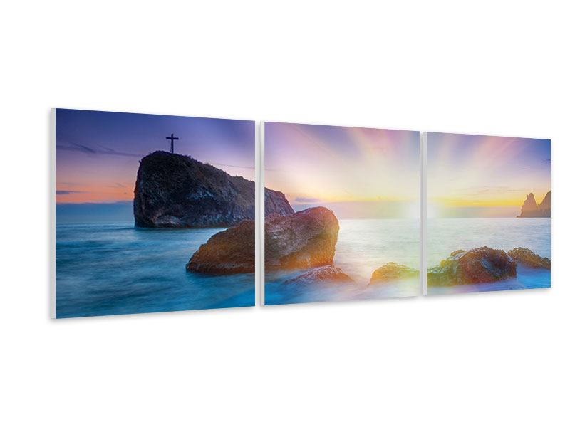 Panorama Hartschaumbild 3-teilig Mystisches Meer