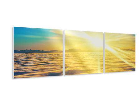 Panorama Hartschaumbild 3-teilig Sonnenuntergang über den Wolken