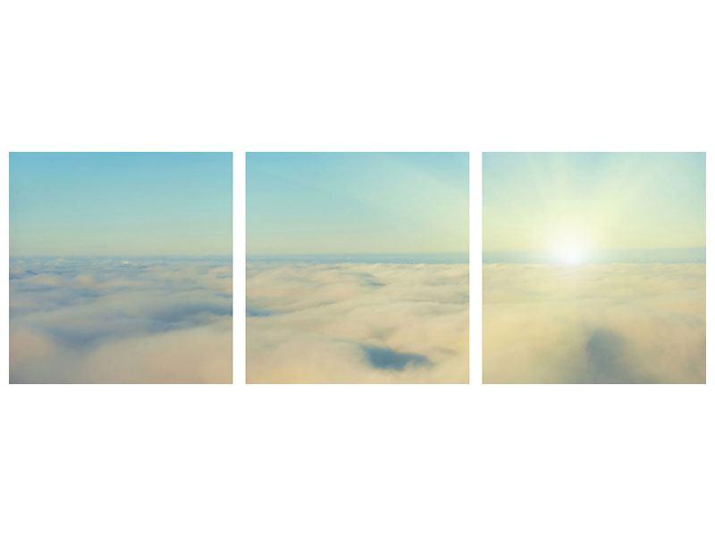 Panorama Hartschaumbild 3-teilig Dämmerung über den Wolken