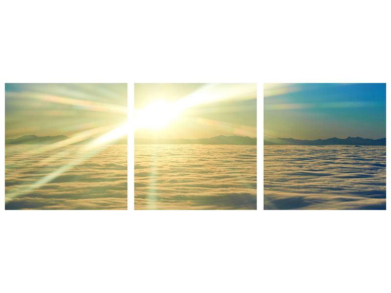 Panorama Hartschaumbild 3-teilig Sonnenaufgang über den Wolken