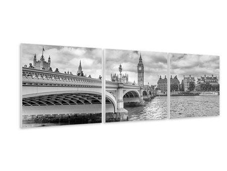 Panorama Hartschaumbild 3-teilig Westminster Bridge
