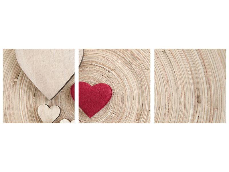 Panorama Hartschaumbild 3-teilig Herzen