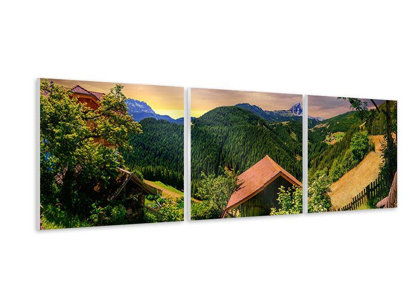 Panorama Hartschaumbild 3-teilig Schweizer Berge im Sommer