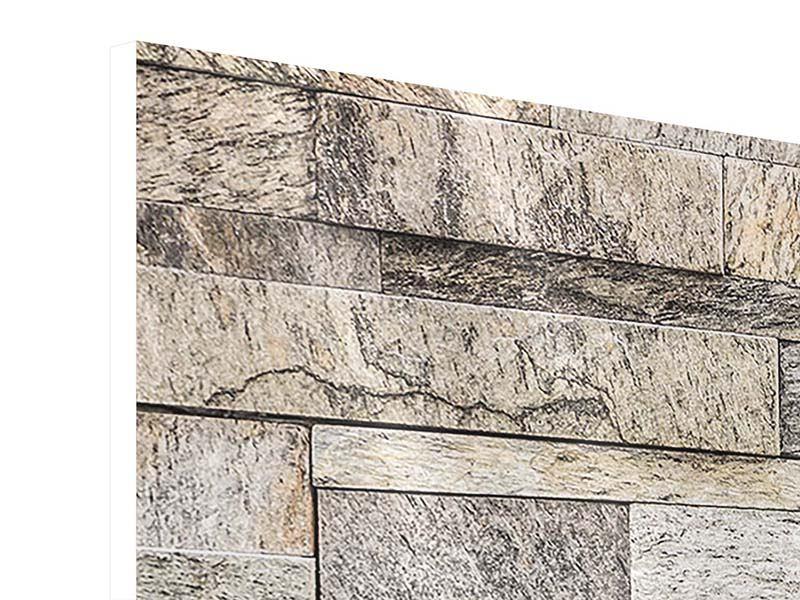 Panorama Hartschaumbild 3-teilig Elegante Steinmauer