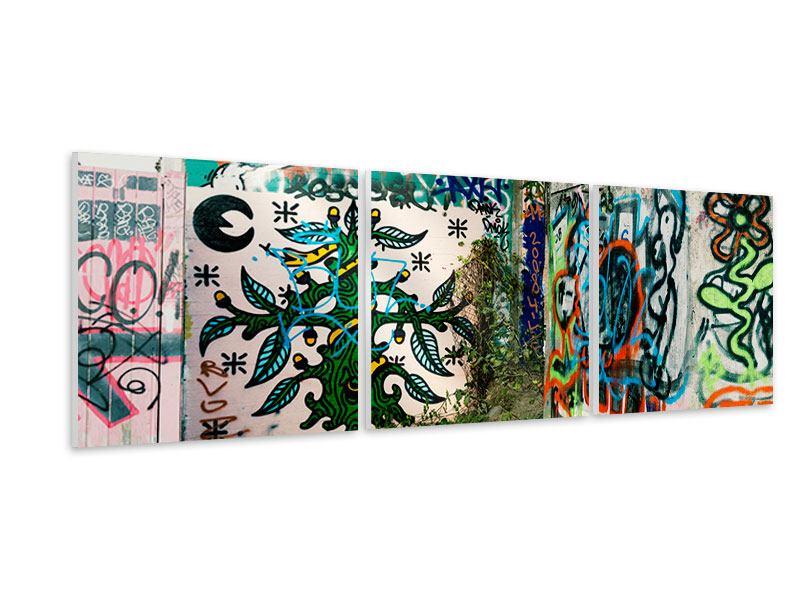 Panorama Hartschaumbild 3-teilig Graffiti im Hinterhof