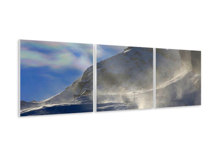 Panorama Hartschaumbild 3-teilig Mit Schneeverwehungen den Berg in Szene gesetzt