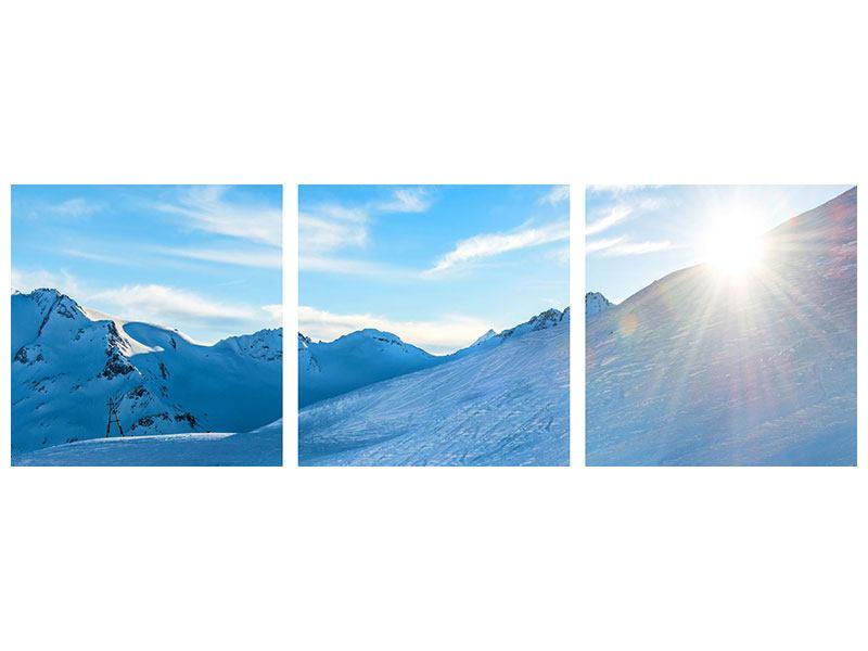 Panorama Hartschaumbild 3-teilig Sonnenaufgang in den Bergen