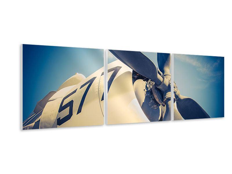 Panorama Hartschaumbild 3-teilig Close Up Propellerflugzeug