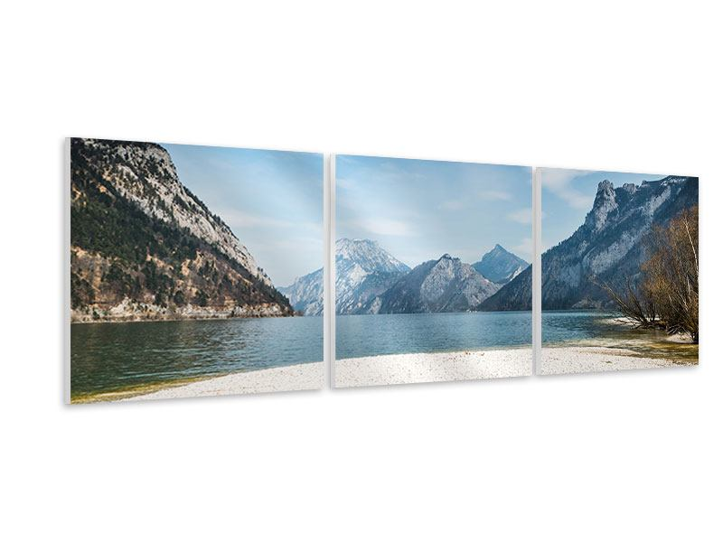 Panorama Hartschaumbild 3-teilig Der idyllische Bergsee