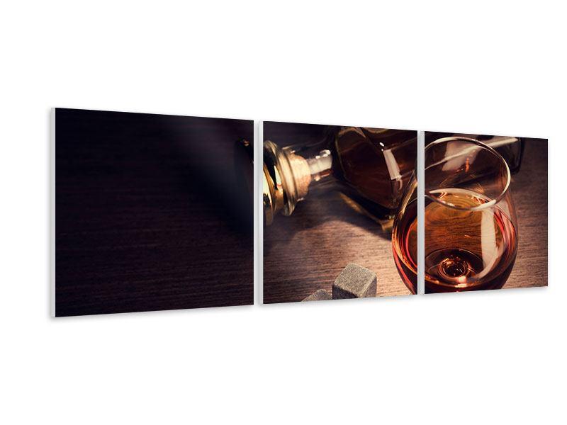 Panorama Hartschaumbild 3-teilig Ein Glas Cognac