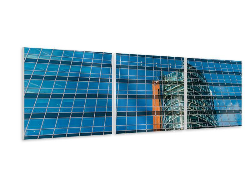 Panorama Hartschaumbild 3-teilig Wolkenkratzer-Spiegel