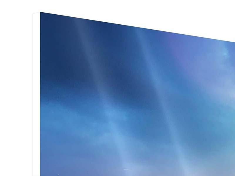 Panorama Hartschaumbild 3-teilig Skyline NY bei Sonnenuntergang