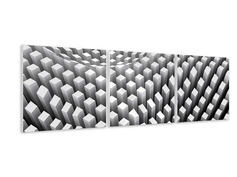 Panorama Hartschaumbild 3-teilig 3D-Rasterdesign