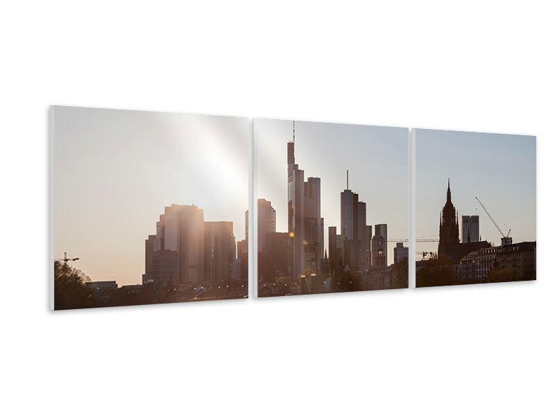 Panorama Hartschaumbild 3-teilig Skyline Sonnenaufgang bei Frankfurt am Main