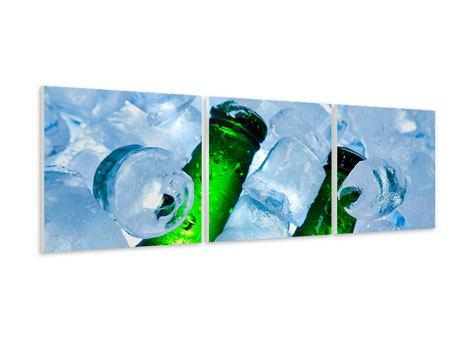 Panorama Hartschaumbild 3-teilig Eisflaschen