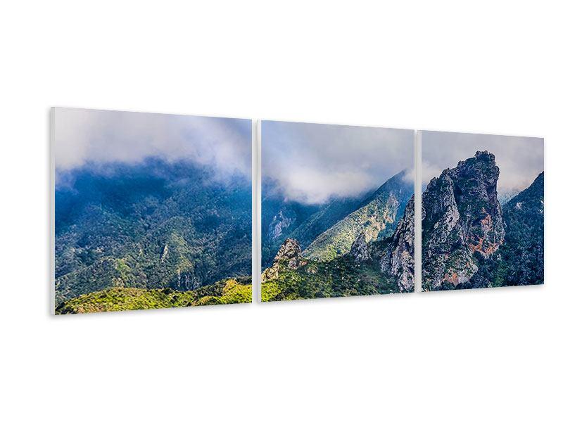 Panorama Hartschaumbild 3-teilig Der stille Berg