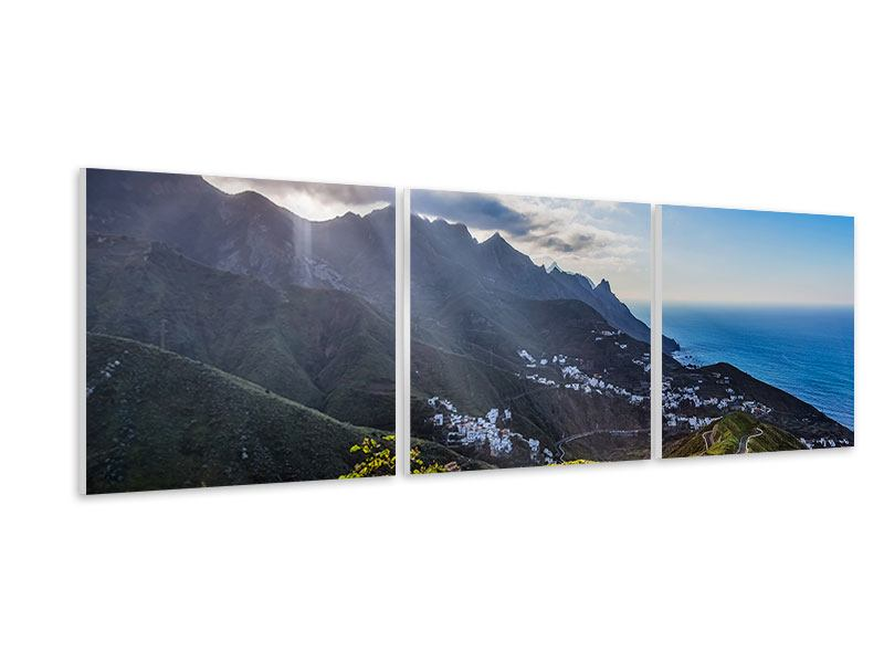 Panorama Hartschaumbild 3-teilig Der Frühling in den Bergen