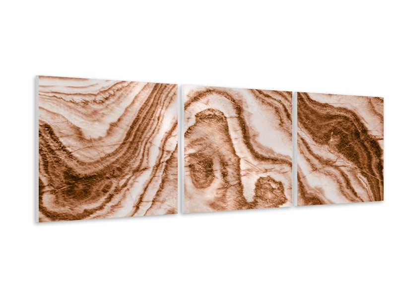 Panorama Hartschaumbild 3-teilig Marmor in Sepia