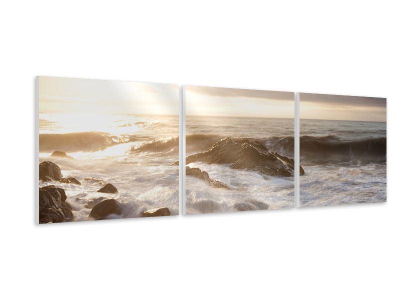 Panorama Hartschaumbild 3-teilig Meeresbrandung
