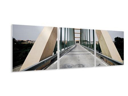 Panorama Hartschaumbild 3-teilig Imposante Hängebrücke