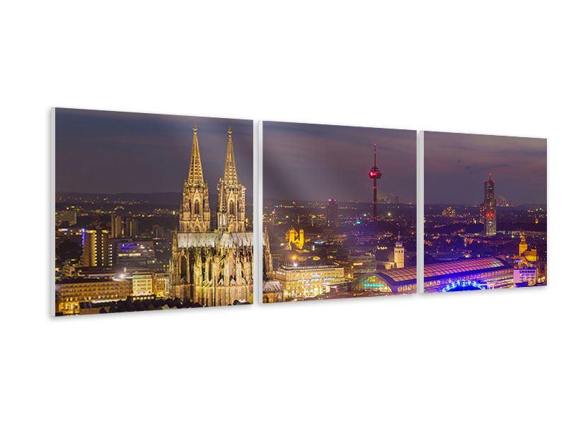 Panorama Hartschaumbild 3-teilig Skyline Kölner Dom bei Nacht