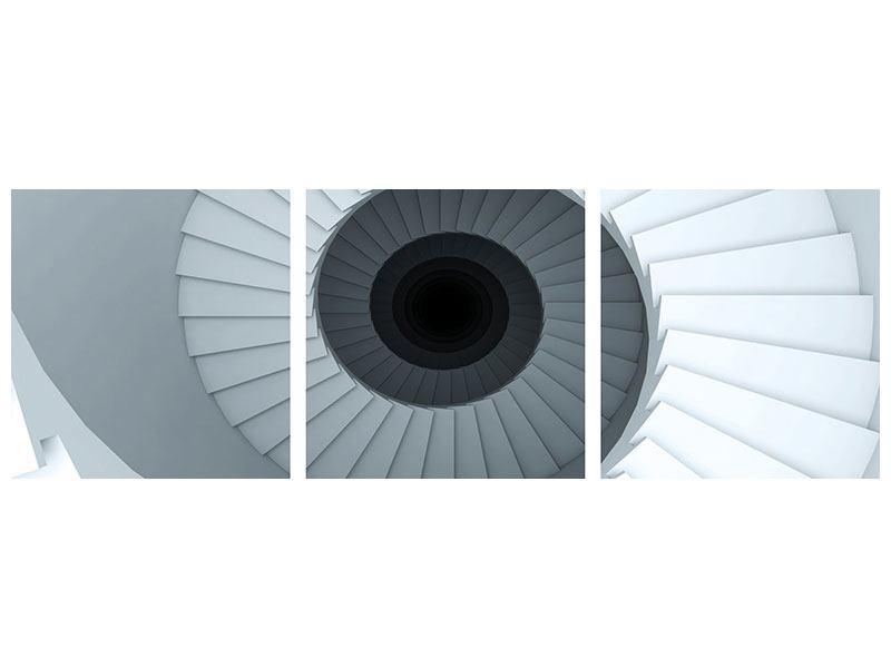 Panorama Hartschaumbild 3-teilig 3D Wendeltreppe