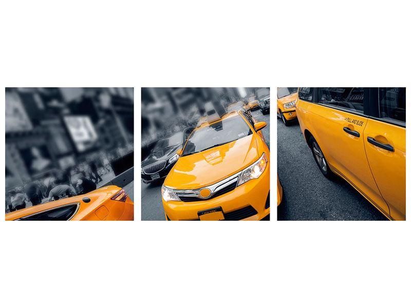 Panorama Hartschaumbild 3-teilig Taxi in NYC