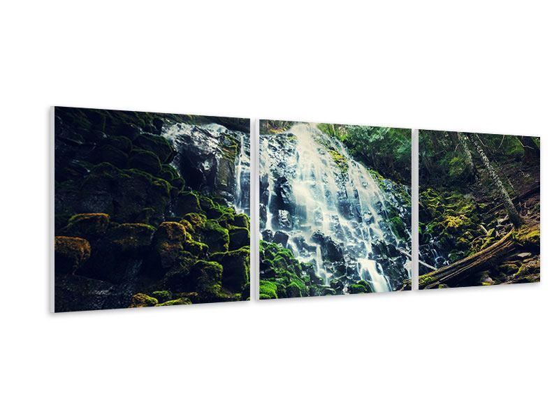 Panorama Hartschaumbild 3-teilig Feng Shui & Wasserfall
