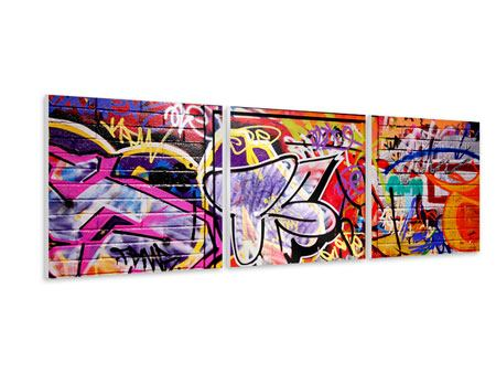 Panorama Hartschaumbild 3-teilig Graffiti Kunst