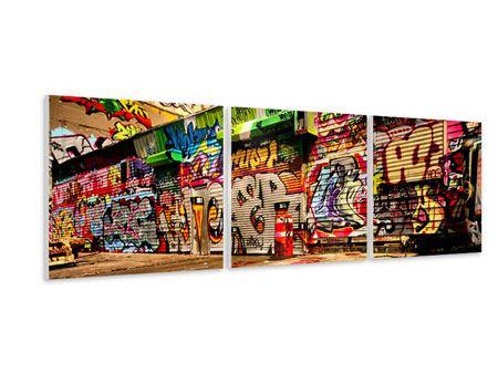 Panorama Hartschaumbild 3-teilig NY Graffiti
