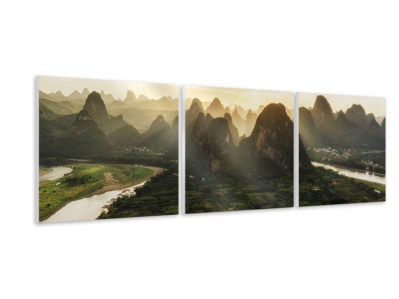Panorama Hartschaumbild 3-teilig Die Berge von Xingping