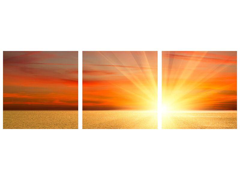 Panorama Hartschaumbild 3-teilig Der Sonnenuntergang