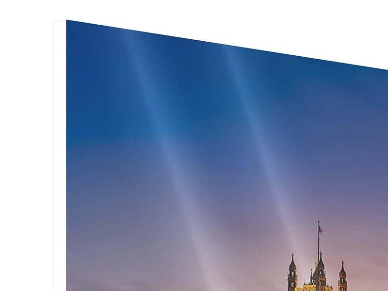 Panorama Hartschaumbild 3-teilig Big Ben in der Nacht