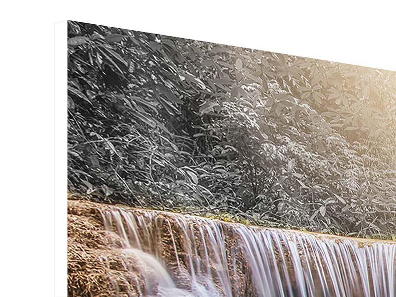 Panorama Hartschaumbild 3-teilig Glücklicher Wasserfall
