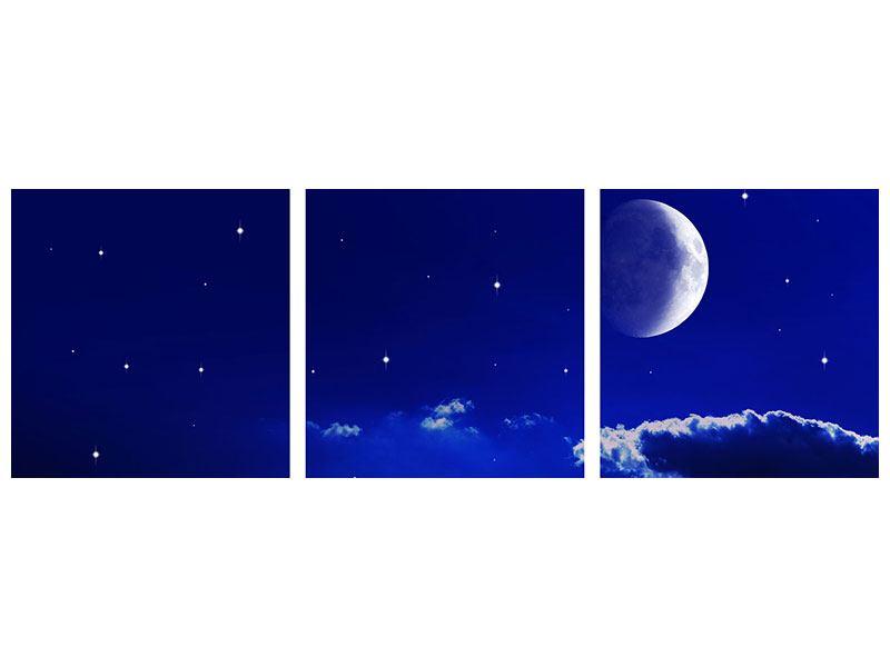 Panorama Hartschaumbild 3-teilig Der Nachthimmel