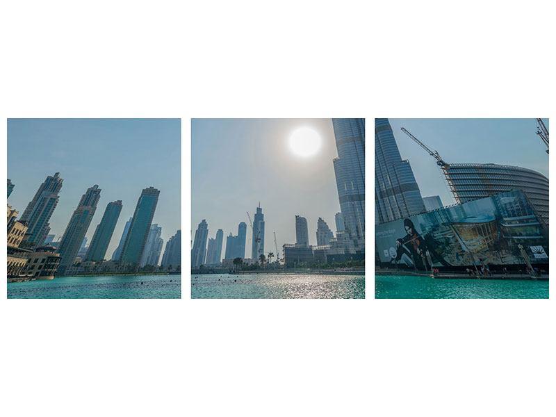 Panorama Hartschaumbild 3-teilig Wolkenkratzer-Architektur Dubai