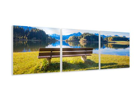 Panorama Hartschaumbild 3-teilig Sitzbank mit Bergpanorama