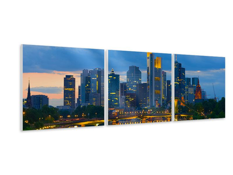 Panorama Hartschaumbild 3-teilig Skyline Frankfurt am Main