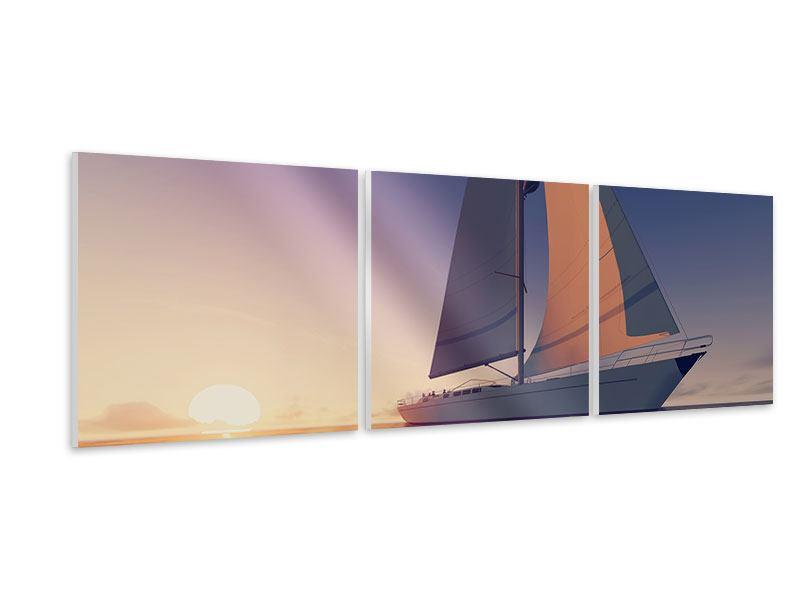 Panorama Hartschaumbild 3-teilig Das Segelschiff